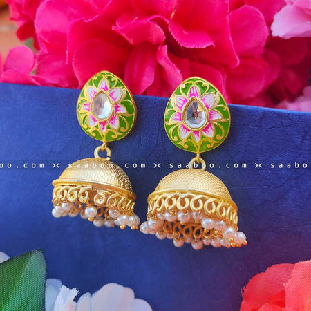 Green Golden Enamel Meenakari Earring