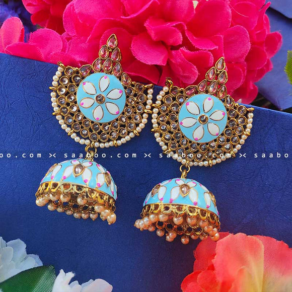 Skyblue Golden Enamel Stones Meenakari Earring