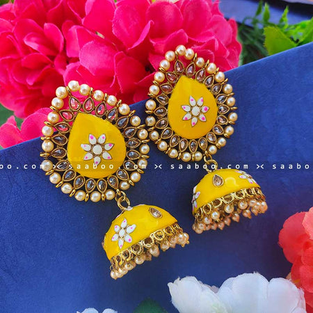 Yellow Golden Enamel Stones Meenakari Earring