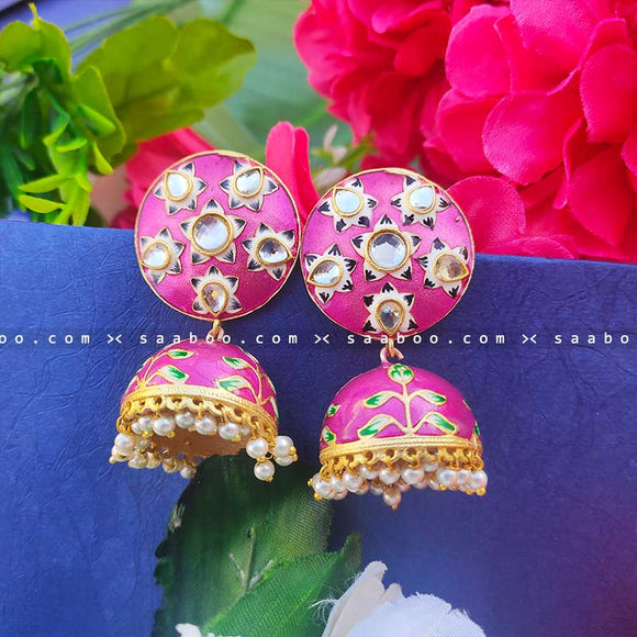 Rose Golden Enamel Stones Meenakari Earring
