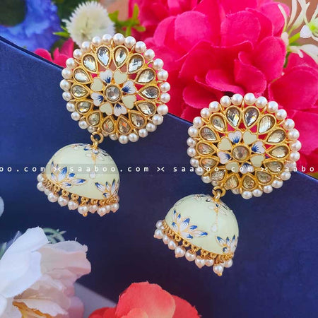 Light Green Golden Enamel Stones Meenakari Earring