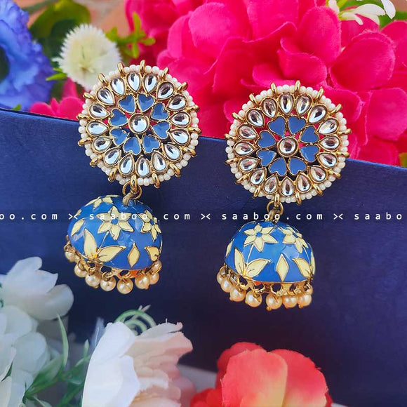 Dark Blue Golden Enamel Stones Meenakari Earring