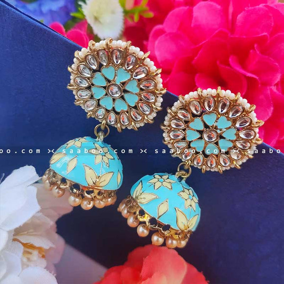 Light Sky Blue Golden Enamel Stones Meenakari Earring