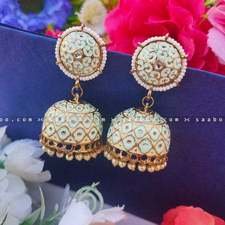 Mint Green Golden Enamel Stones Meenakari Earring