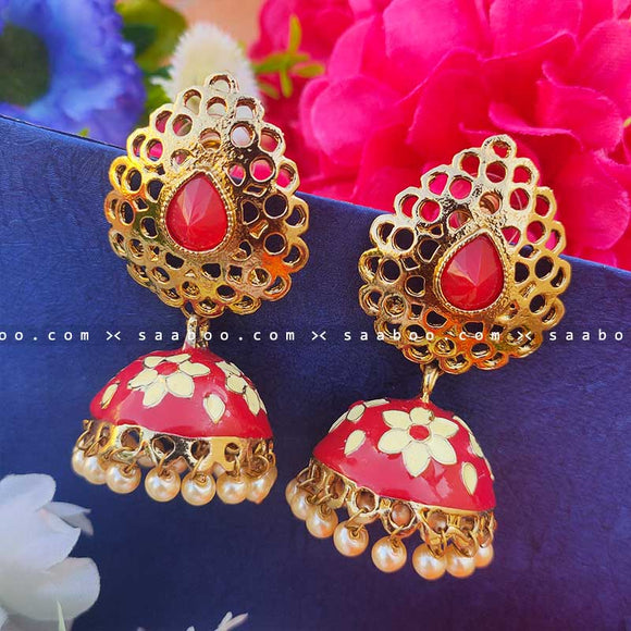 Red Golden Enamel Stones Meenakari Earring