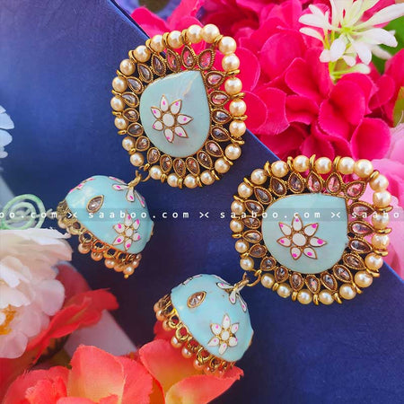 Electric Green Golden Enamel Stones Meenakari Earring