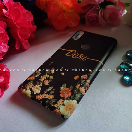 Black Floral Wave Name Case