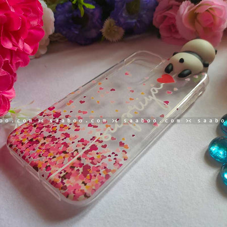 Panda Toy Transparent silicone case with White Name