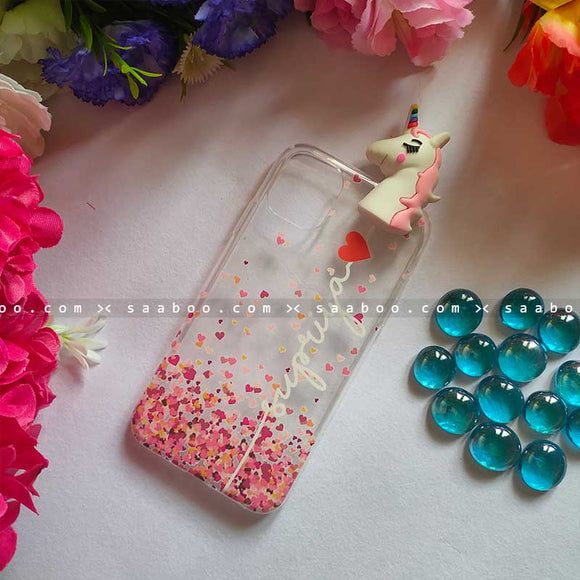 Unicorn Toy Transparent silicone case with White Name