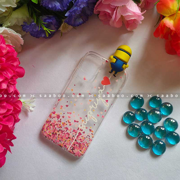 Minion Toy Transparent silicone case with White Name