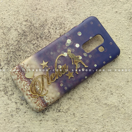 4D Case - saaboo - 4D Case Blue with Gold Glitter and Name Lady Walk