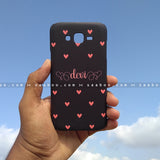 Case - saaboo - Mobile Case with Black and Peach Hearts with Name