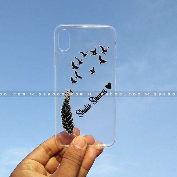 Silicone Case - saaboo - Transparent Silicone case with Name Feathers