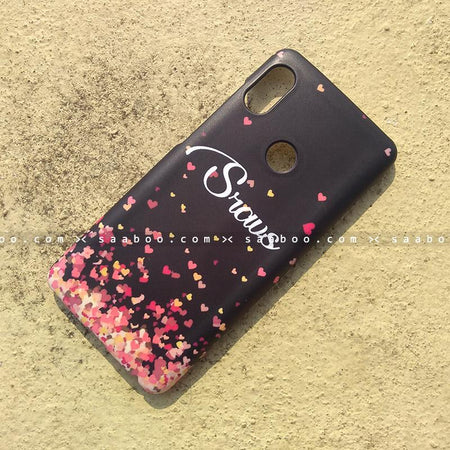 Case - saaboo - Mobile Case with Hearts in Black and Name Print