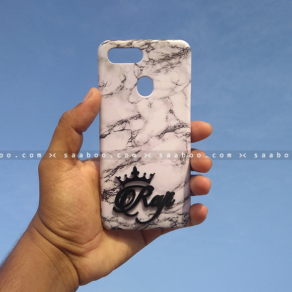 4D Case - saaboo - 4D Case White Marble with Name at Bottom