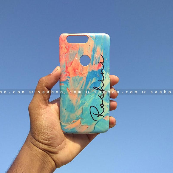 Case - saaboo - Mobile Case with Blue Paint and Name Print