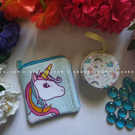 Color Hair Unicorn Metal and Coin Pouch