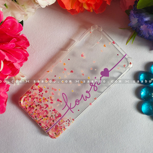 Silicone Case - saaboo - Transparent Silicone case With Purple Name