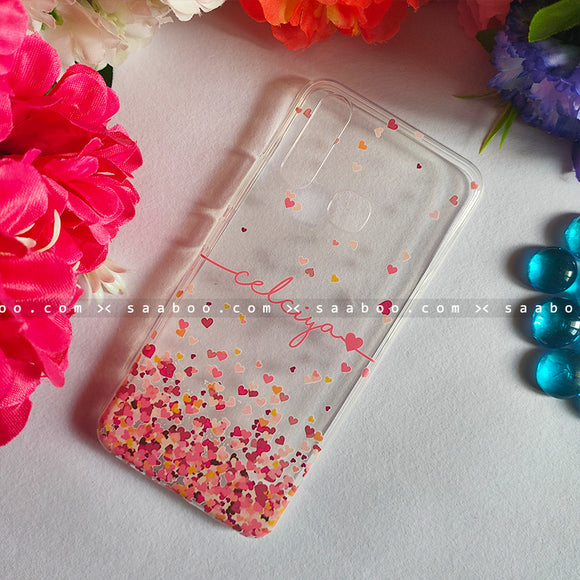 Silicone Case - saaboo - Transparent Silicone case with Pink Name Heart