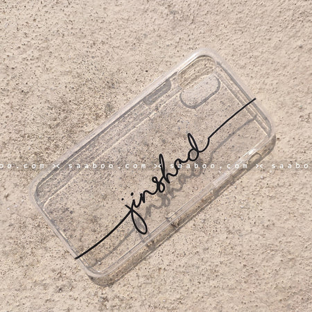 Silicone Case - saaboo - Transparent Silicone case with Black Name
