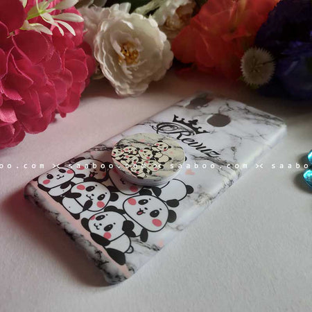 Customized Name Pandas in Marble Gripper Case