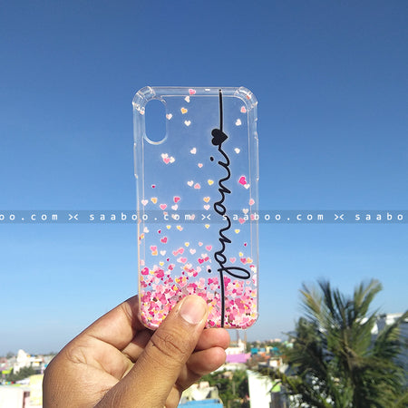 Silicone Case - saaboo - Transparent Silicone case with Name and hearts