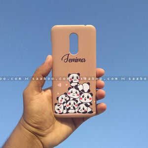 Case - saaboo - Mobile Case with Brown Pandas and Name Print