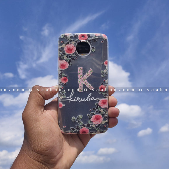 Silicone Case - saaboo - Transparent Silicone Case with Letter and White Name with Flowers