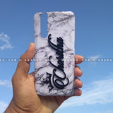 4D Case - saaboo - 4D Case White Marble with Black Name