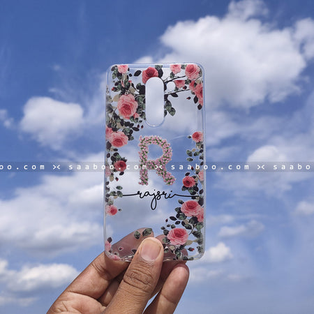 Silicone Case - saaboo - Transparent Silicone Case with Letter and Black Name with Flowers