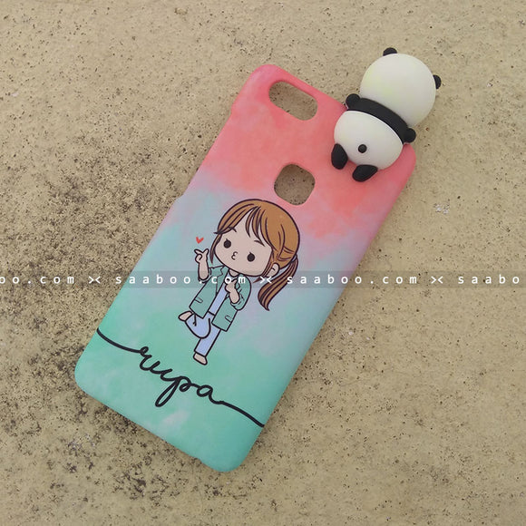 Toy Case - saaboo - Panda Toy and Cute Girl Wave Name Case