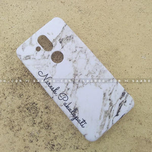 Case - saaboo - Mobile Case with White Marble and Name Print