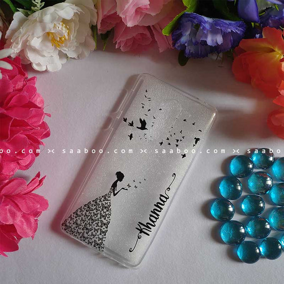 Transparent Silicone case With Butterfly Girl Name