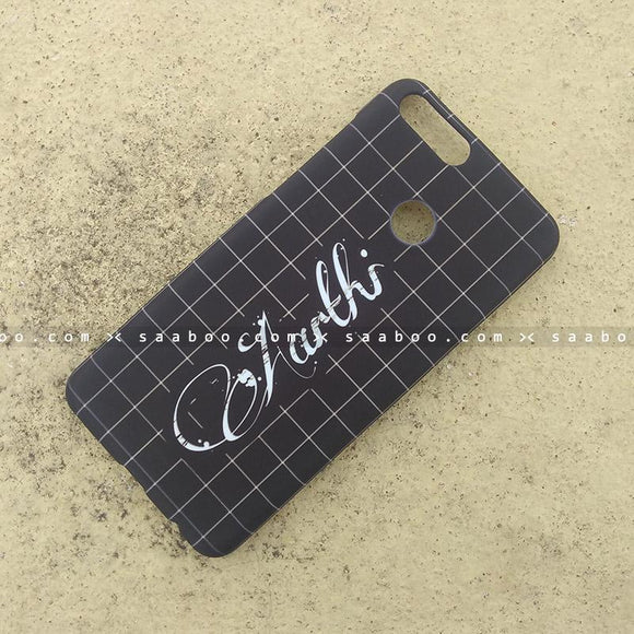 Case - saaboo - Mobile Case with Black Checked and Name Print
