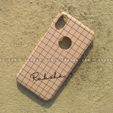 Case - saaboo - Peach Checked Mobile Case and Name Print