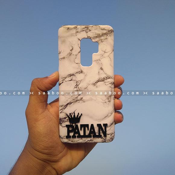 4D Case - saaboo - 4D White Marble with Name Crown at Bottom