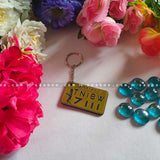 Number Plate Gold Color Keychain