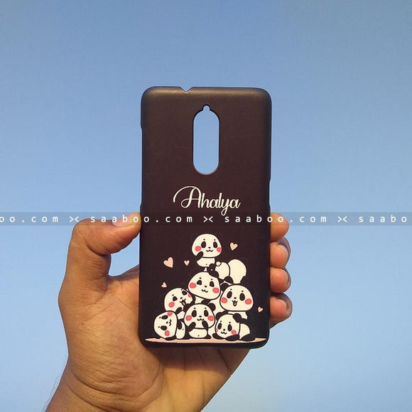 Case - saaboo - Mobile Case with Black Pandas and Name Print