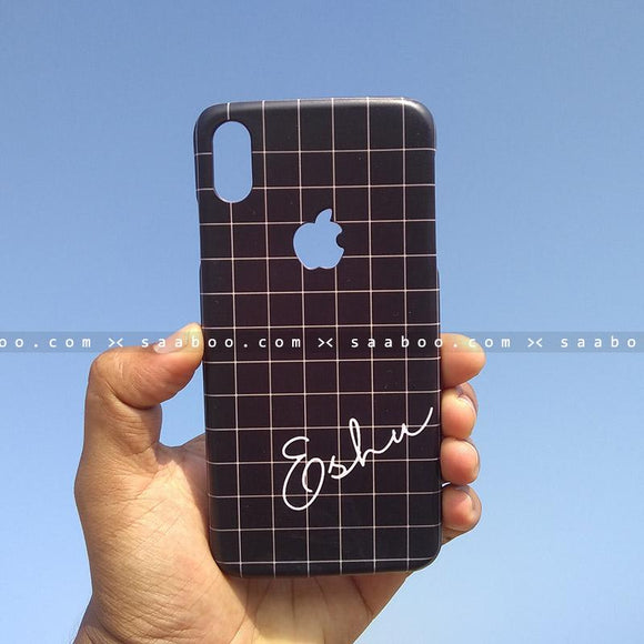 Case - saaboo - Mobile Case with Black Checked and Style Name Print