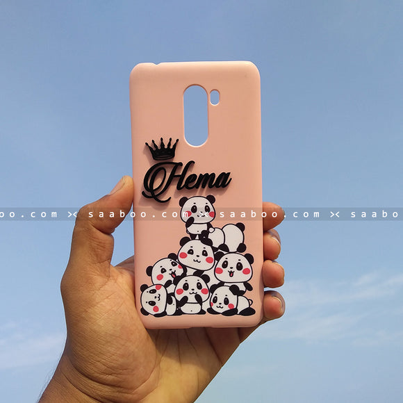 4D Case - saaboo - 4D Case Pink Pandas with Name