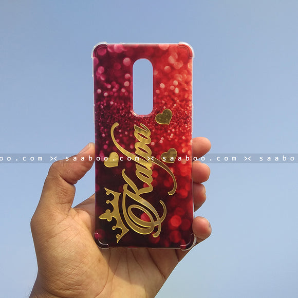 4D Case - saaboo - 4D Red Glitter with Gold Name
