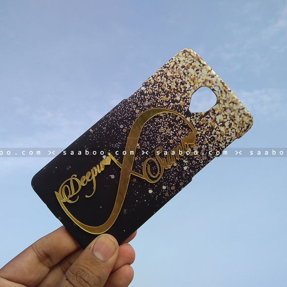 4D Case - saaboo - 4D Black With Gold Glitter Infinity Name