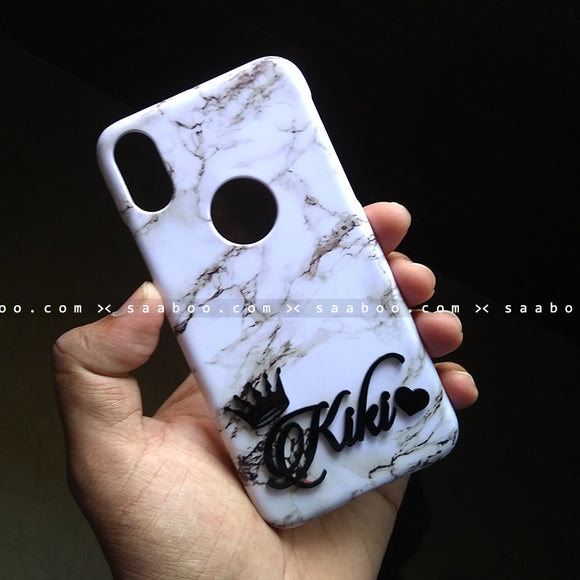 4D Case - saaboo - 4D Case White Marble with Name Crown at Bottom