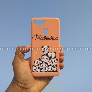 Case - saaboo - Mobile Case with Peach Pandas and Name Print