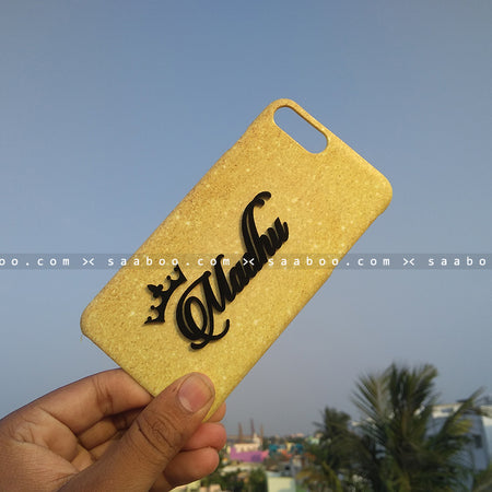 4D Case - saaboo - 4D Case Gold Glitter with Name