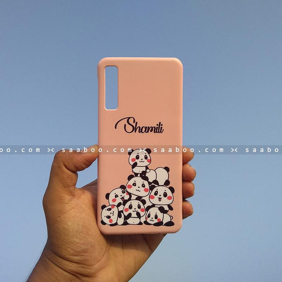 Case - saaboo - Mobile Case with Pink Pandas and Name Print