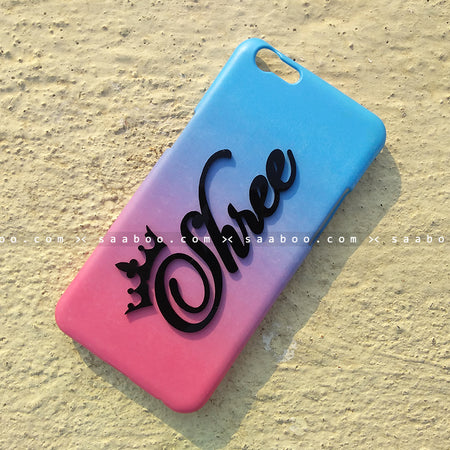 4D Case - saaboo - 4D Case Blue and Rose Gradient with Name