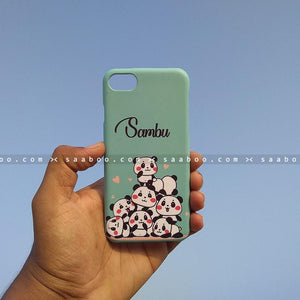 Case - saaboo - Mobile Case with Blue Pandas and Name Print