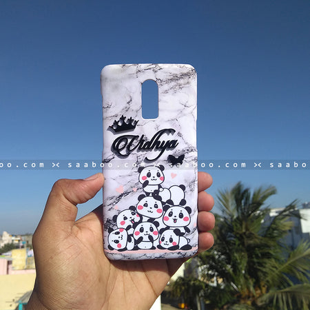 4D Case - saaboo - 4D Case White Marble Pandas with Name