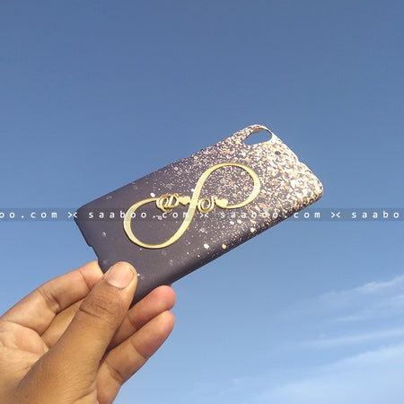 4D Case - saaboo - 4D Case Black With Gold Glitter and Infinity Name
